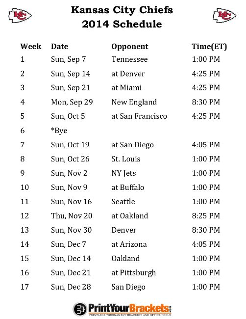 Printable Kansas City Chiefs Schedule - 2014 Football Season