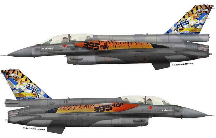 """F-16D Block 52  #06-2110 from 335 Mira """"Tigris"""" anniversary 75 sqn 335"""