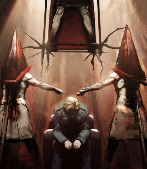 If it were completely up to me - this is the type of art my house would contain. I am a major survival horror video game fan and Pyramid head never fails to scare the crap out of me. This would be awesome in a game roon with other various Silent Hill and Resident Evil inspired peices. The boys would probably be terrified - well except Aiden he shares all my awesome interests. :)