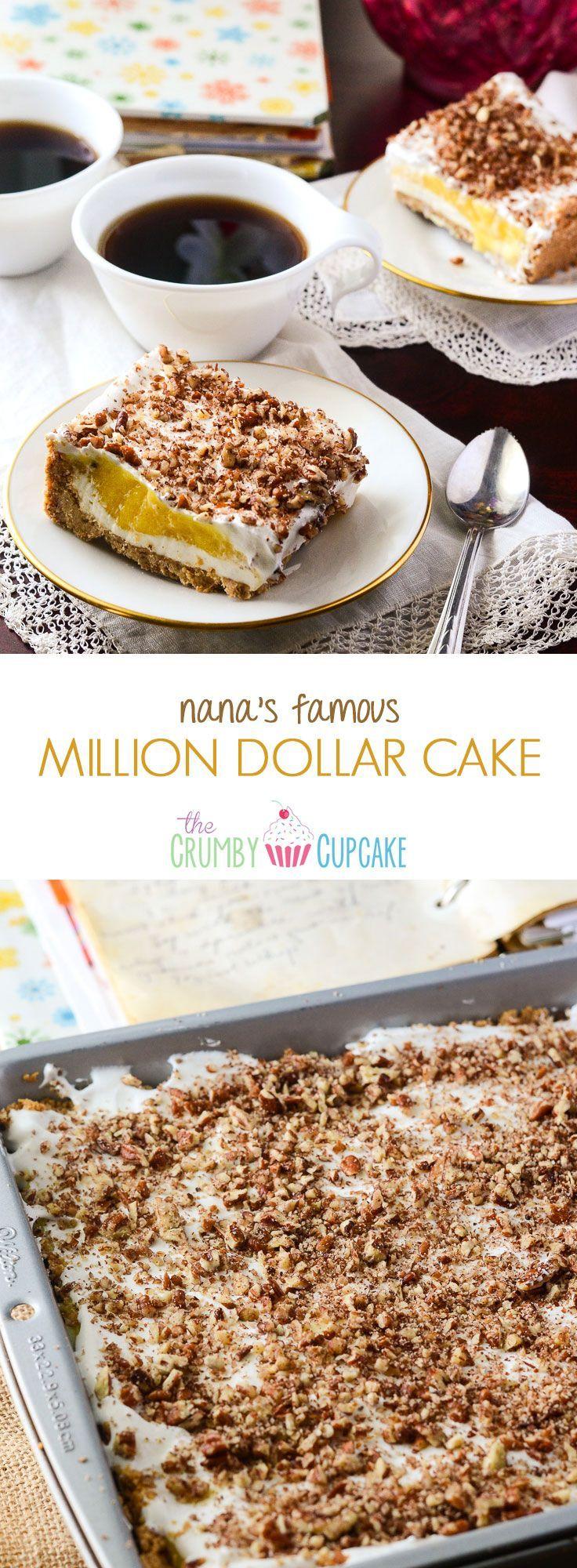 Nana's Million Dollar Cake | A light, refreshing cheesecake-style pudding cake, pulled from Nana's handwritten vintage cookbook! #SundaySupper