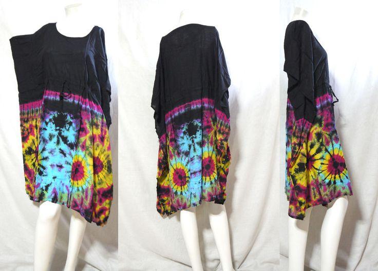 HIPPIE BOHO music festival chic  tie dye kimono cover up kaftan mini dress 185 #Unbranded #Maxi #Casual