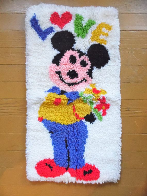Mickey Mouse Rug Latch Hook Rug Latch Hook by OldSteamerTrunkJunk