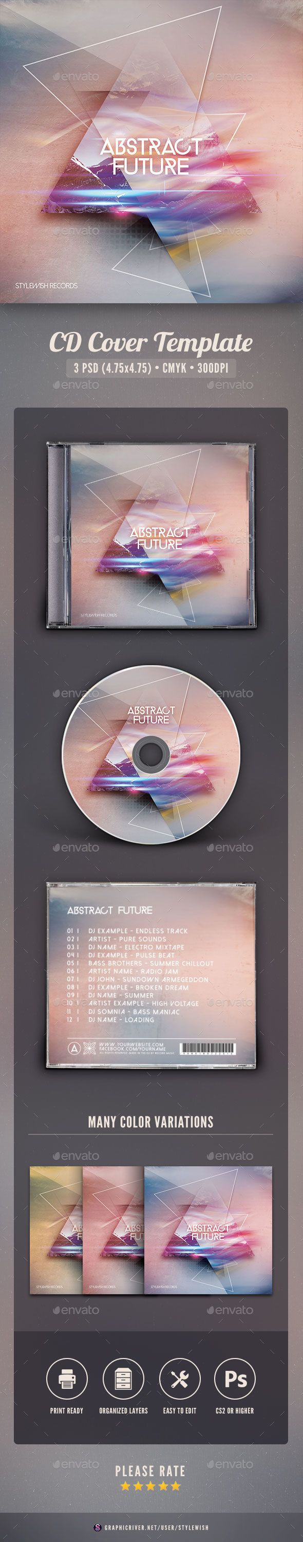 Abstract Future CD Cover Artwork  #progressive #geometry #PSD • Click here to download ! http://graphicriver.net/item/abstract-future-cd-cover-artwork/16150363?ref=pxcr