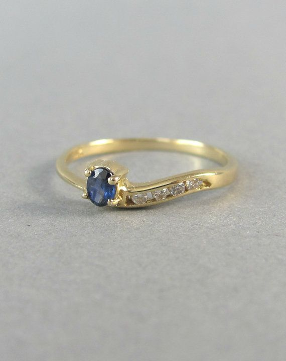 BEAUTIFUL blue sapphire and diamond vintage by EmpireOfGold, $225.00