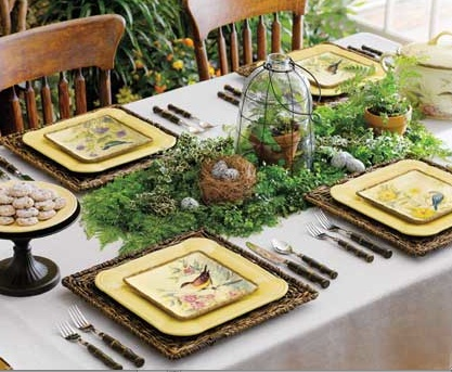 white table cloth, woven square placemats, square yellow ...