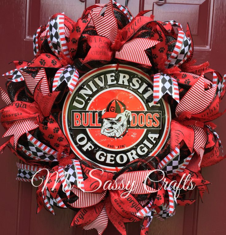 Georgia Bulldogs Wreath - Georgia Wreath - Bulldogs Wreath - UGA Wreath - UGA Decor - Bulldogs Decor - Georgia Bulldogs Deco Mesh Wreath by MsSassyCrafts on Etsy https://www.etsy.com/listing/242324041/georgia-bulldogs-wreath-georgia-wreath