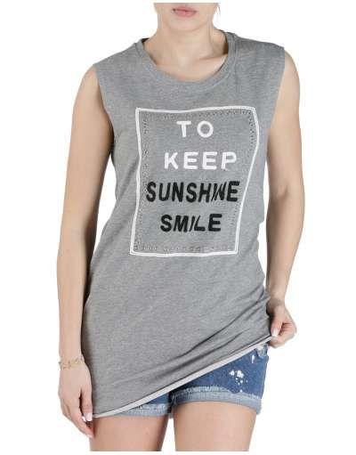 ΓΥΝΑΙΚΕΙΑ ΡΟΥΧΑ :: Φορέματα :: Μπλούζοφόρεμα Just Smile Grey - OEM