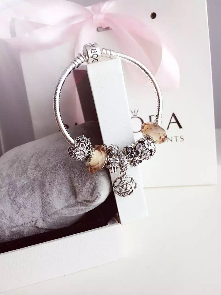 $199 Pandora Charm Bracelet Pink White. Hot Sale!