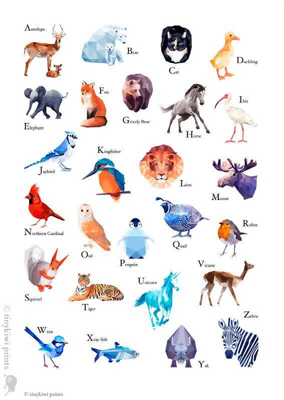 ABC Print Alphabet poster abc animals Animal by tinykiwiprints, $14.99