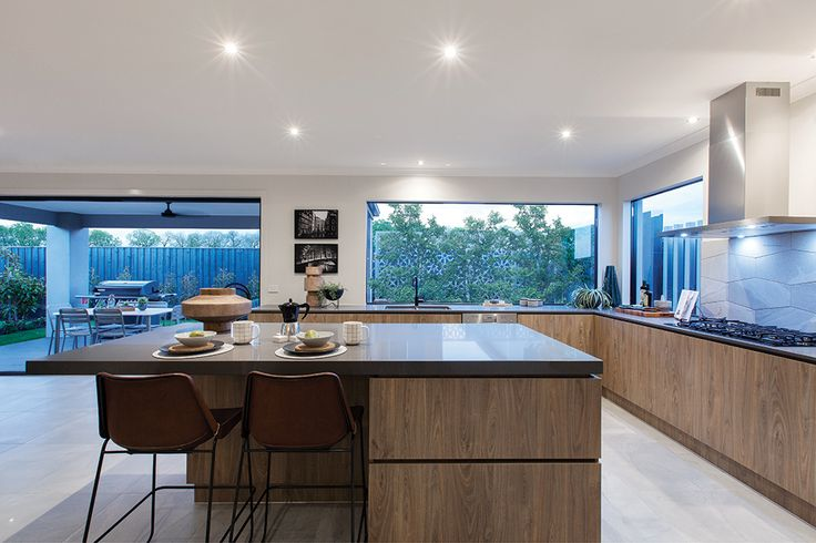 Textured open plan kitchen in the Hoffman display with an Amsterdam World of Style.