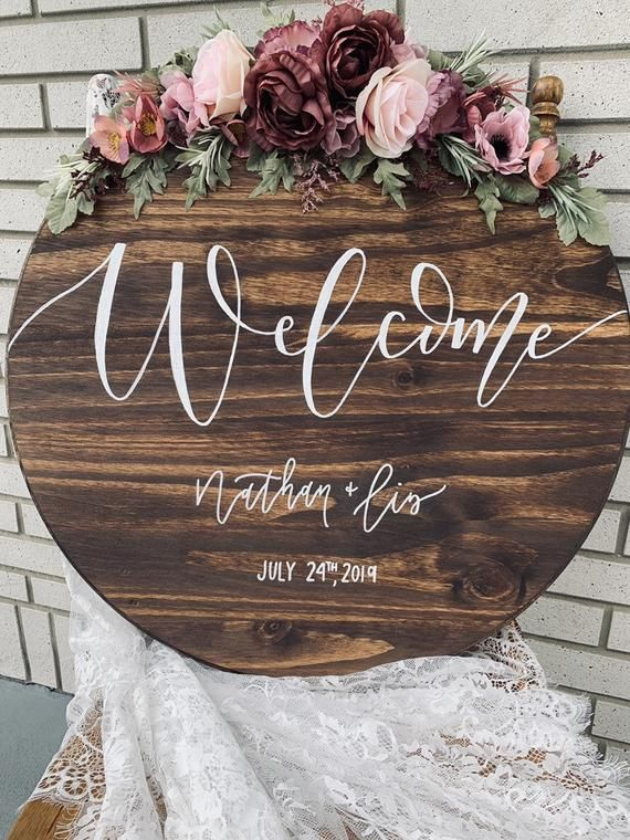 24 Wedding Round Welcome Sign Wedding Welcome Sign Round Etsy In 2020 Wood Wedding Signs Wedding Welcome Signs Summer Wedding Decorations