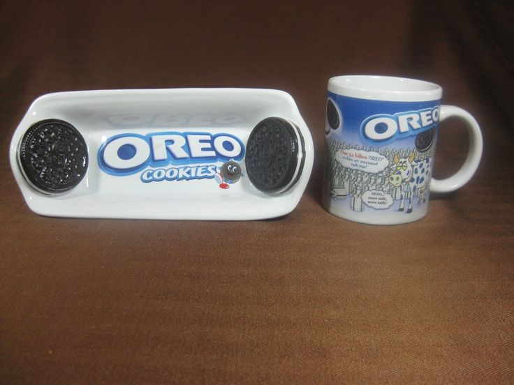 Oreo Cow Coffee/milk Cup With Oreo Cookie Serving Tray Made For Houston Harvest
