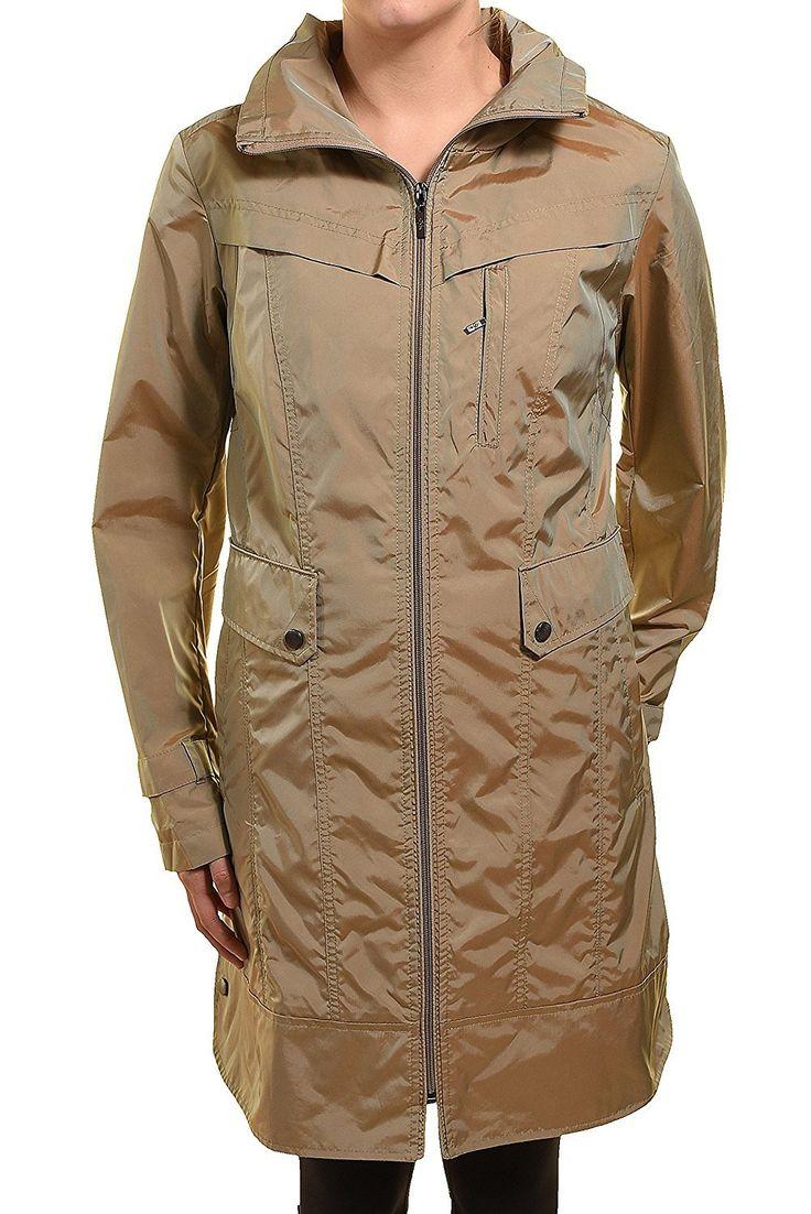 Cole Haan New York Womens Size Medium Packable Rain Coat W/Hidden Hood, Topaz