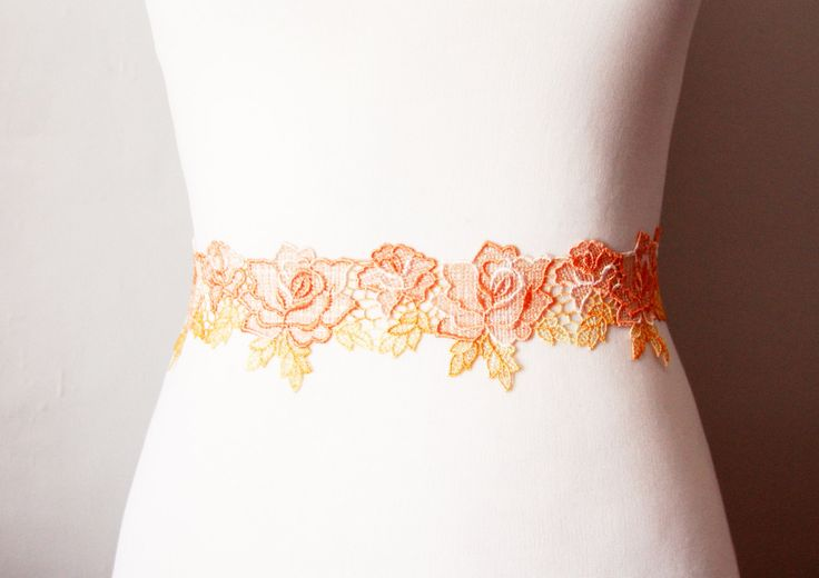 Bridal Couture  Orange Yellow Embroidery Lace Rose by NAFEstudio, $42.00