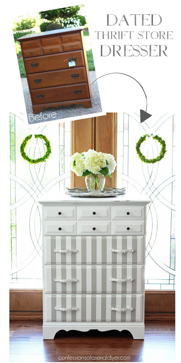 French Linen and White Striped Dresser Makeover from Confessions of a Serial Do-it-Yourselfer