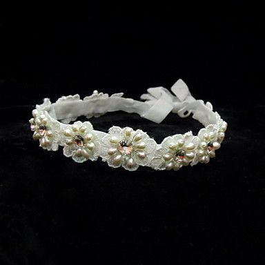 Elegant Satin/Lace With Pearl/Rhinestone Women's Headbands - USD $ 14.99