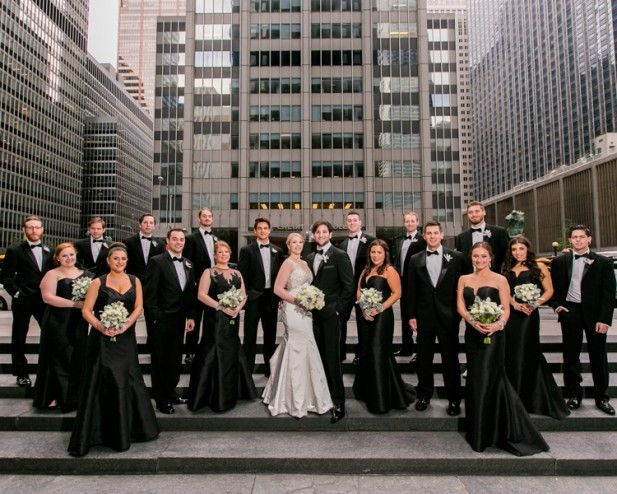 Wedding party with all black attire (Sarah Tew Photography)