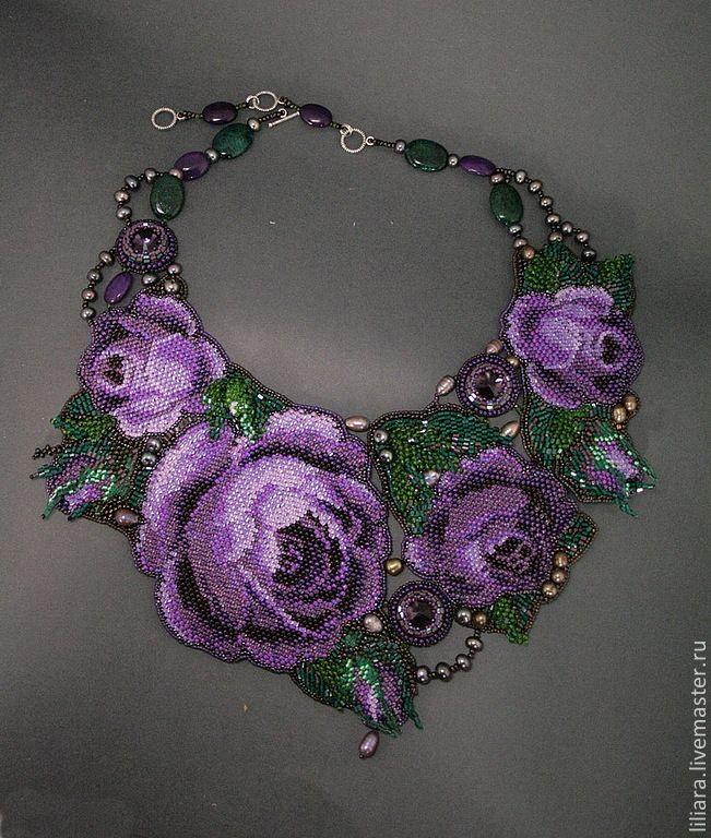Купить Колье - Венок из фиолетовых роз. - тёмно-фиолетовый, розы, фиолетовые розы, фиолетовый цветок