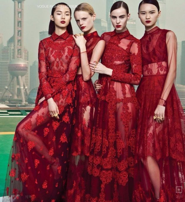"2013. Vogue China. Valentino Shanghai Collection. 2014 February Extra ""My Name is Red"". Photo by Li Qi"