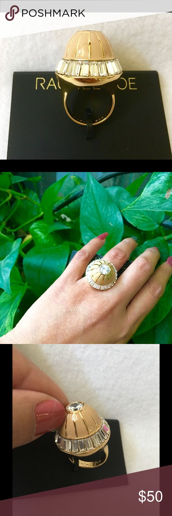 "Authentic Rachel Zoe Crystal Domed Ring 100% AUTHENTIC. This is the gorgeous & stunning Rachel Zoe Swarovski Crystal Domed Ring. 14k yellow gold plated. Beige enamel shapes domed face. Size 7. Height 1 1/2"" Diameter 1"". A statement piece. Don't miss it. Rachel Zoe Jewelry Rings"