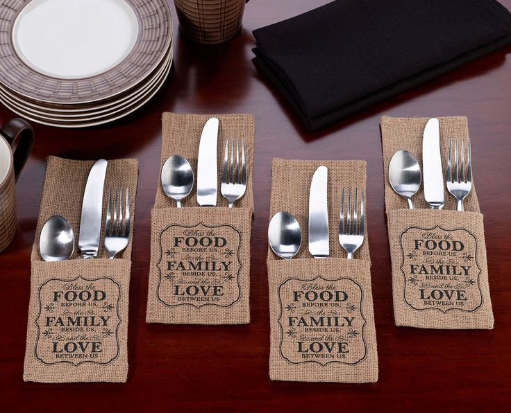 Food & Family Burlap Silverware Holders - Set of 4