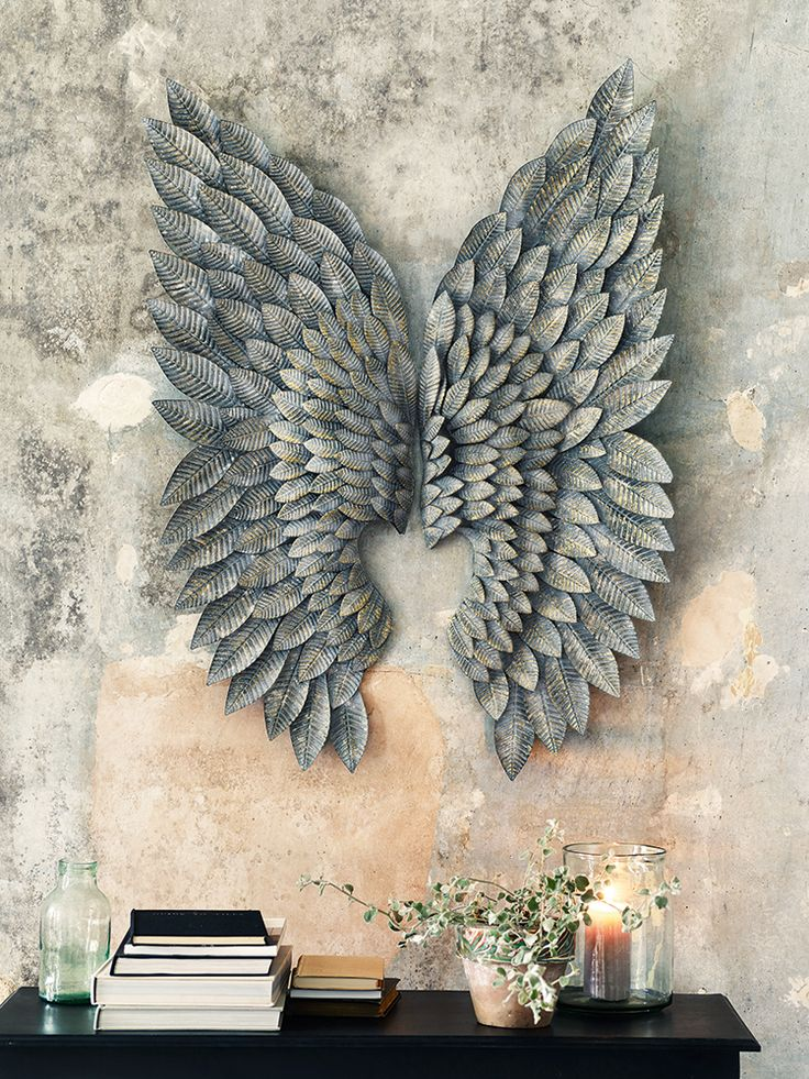 The 25 best ideas about large metal wall art on pinterest for Angel wings wall decoration uk