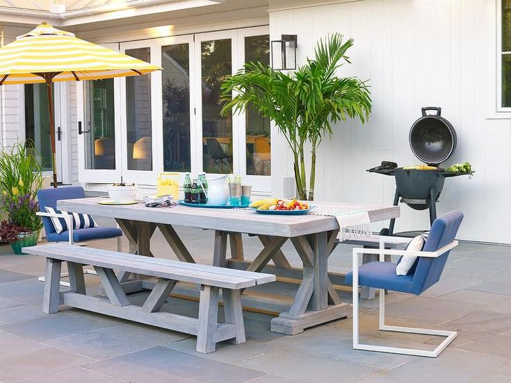 Gray wash teak outdoor dining table and benches combined ...