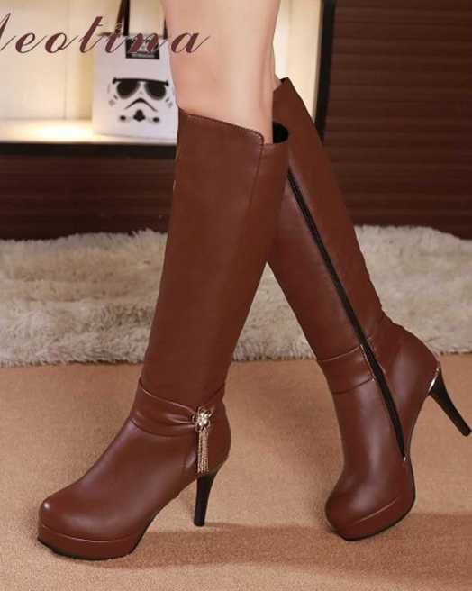 66bbee8106 Women Winter Boots 2018 Tassel Knee High Boots Flower Platform High Heel  Boots Zip Lady Shoes White Black Tan botines mujer