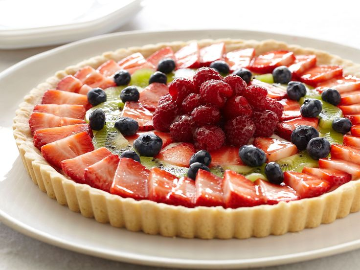 Fresh Fruit Tart recipe from Paula Deen via Food Network. DO NOT DO GLAZE, IT WILL MAKE IT SOGGY