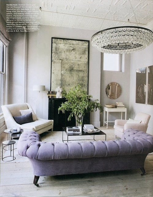 Obsessed with the lavender tufted chesterfield. And the chandy. And the tile ceiling. And the vintage mirror. Maybe one day...