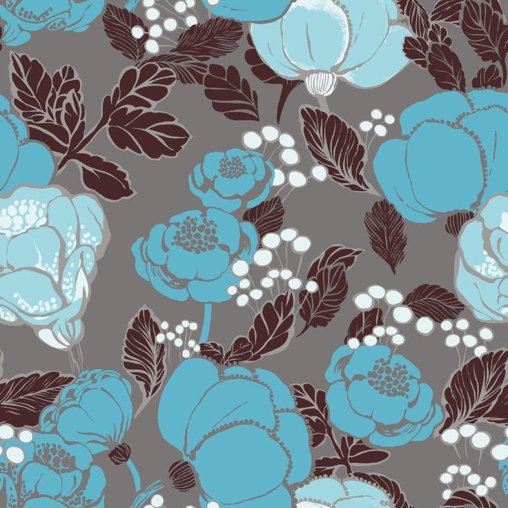 Kullanmuru wallpaper, blue. Design Saara Eklund