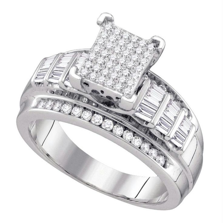Sterling Silver Women's Round Diamond Cluster Bridal Wedding Engagement Ring 5/8 Cttw