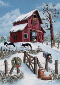 "Amazon.com: ""Winter Barn"" Original Art Garden Flag 12""x18"": Patio, Lawn & Garden"