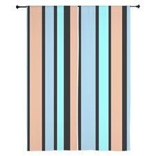 bold blue beige black stripes curtains