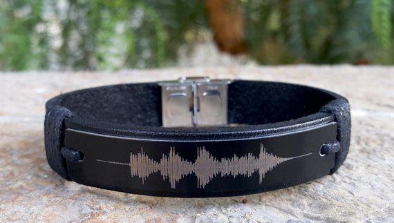 Customized Soundwave Leather Bracelet Personalized Voice