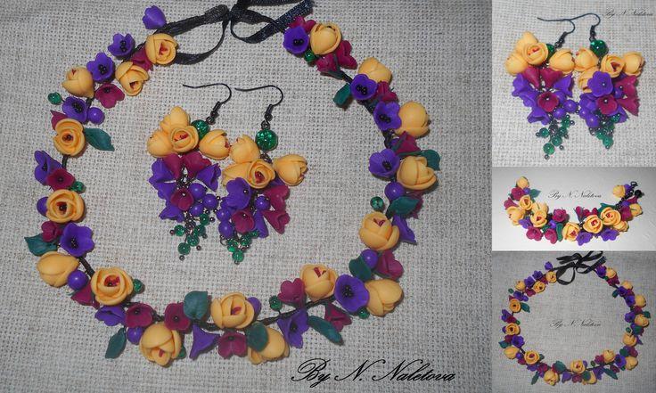 Браслет из полимерной глины, ожерелье из полимерной глины, серьги из полимерной глины, летний браслет, украшения ручной работы, цветочные украшения