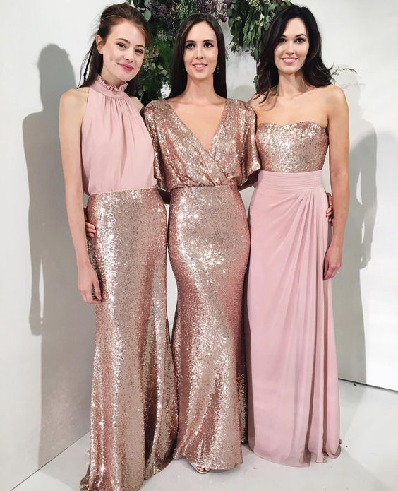 Modest Blush Pink Beach Wedding Bridesmaid Dresses With Rose Gold Sequin Mismatched Maid Of Honor Gowns Women Party Formal Wear 2018