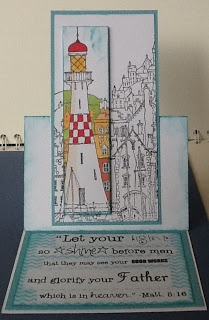 Michael Powell lighthouse stamp with bible verse.
