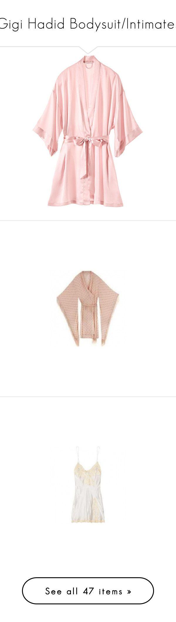 """""""Gigi Hadid Bodysuit/Intimates"""" by taught-to-fly19 on Polyvore featuring intimates, robes, victoria's secret/ pink, satin kimono robe, satin bathrobe, short kimono robe, kimono robe, victoria secret robe, dresses e white day dress"""