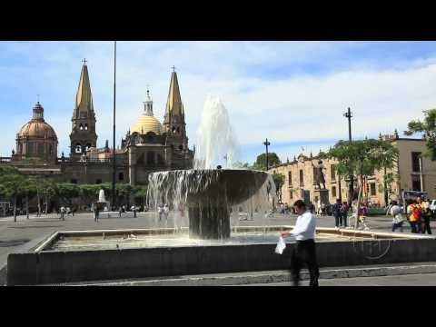 Centro fountains. Guadalajara, Mexico. ArmchairTourist.com video