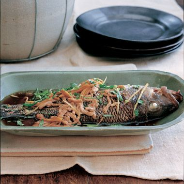 with ginger sake steamed sea bass with ginger and green onions recipes ...