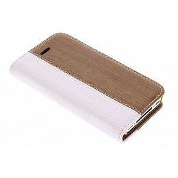 Witte hout leder design booktype hoes voor de iPhone 4 / 4s