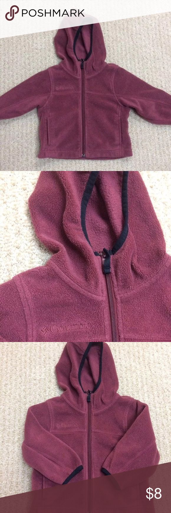 Toddler Columbia Jacket Toddler Columbia fleece jacket. Zips up the front with pockets and a hood. 2t. This is a maroon/ burnt red color. No stains or holes. Perfect for keepingy your child warm. Can work for a boy or girl. Gender neutral coloring. Columbia Shirts & Tops Sweatshirts & Hoodies