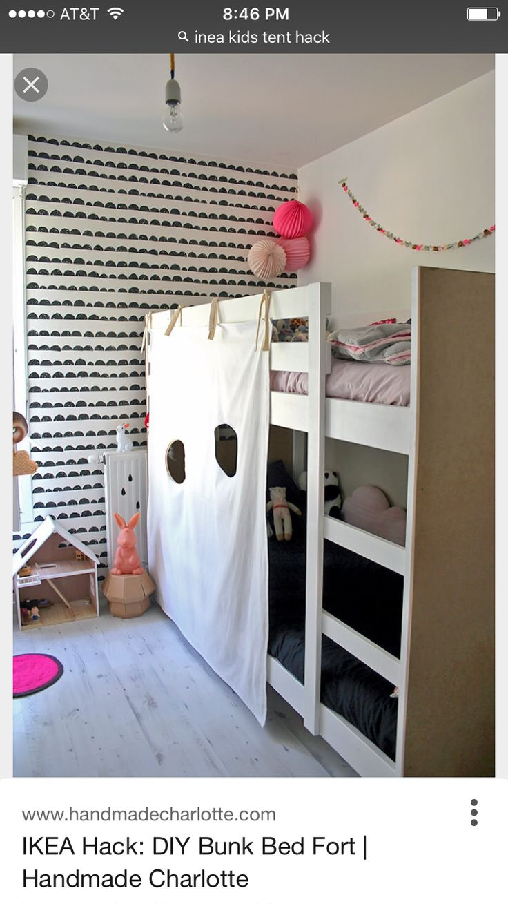 Pin for Later: 24 Decorating Hacks to Make Your Kids' Rooms Even Cuter DIY  Bunk-Bed Fort Handmade Charlotte shared the instructions for this awesome  bunk ...