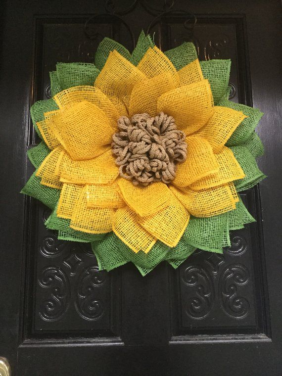 This Is A Yellow Poly Burlap Sunflower Wreath Made On A 10 Wire Wreath Form There Is A Very Full Layer Of Green Pet Sunflower Wreaths Wreaths Sunflower Decor