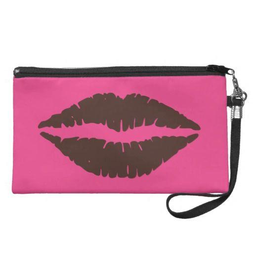 Chocolate Brown Lipstick Print Pink Wristlet - #theheartshoppe #windywinters #zazzle