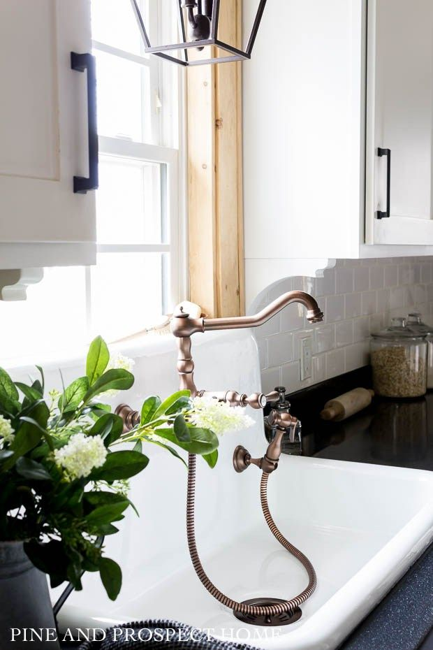 A New High Back Sink And Faucet In Our Cottage Kitchen Cottage Style Kitchen Faucet Vintage Tub Bath