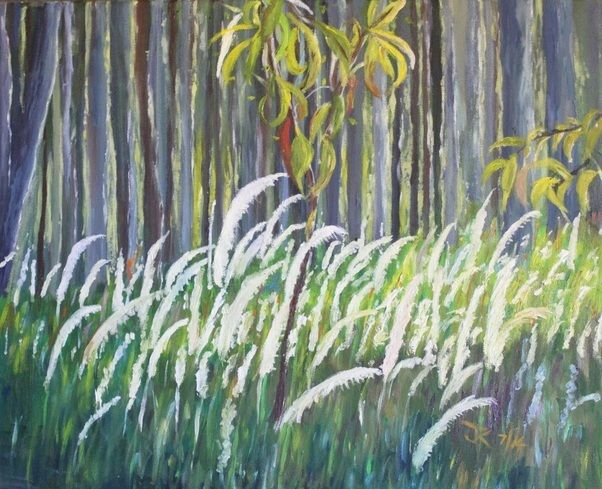 Grasses Playing at Dusk, Oil Painting by Jane Kirby