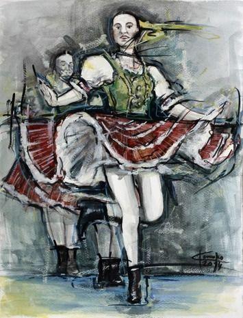 Ľubomír Korenko, akvarel Tanec v duši II, s rámom 40x50 cm, 120 €