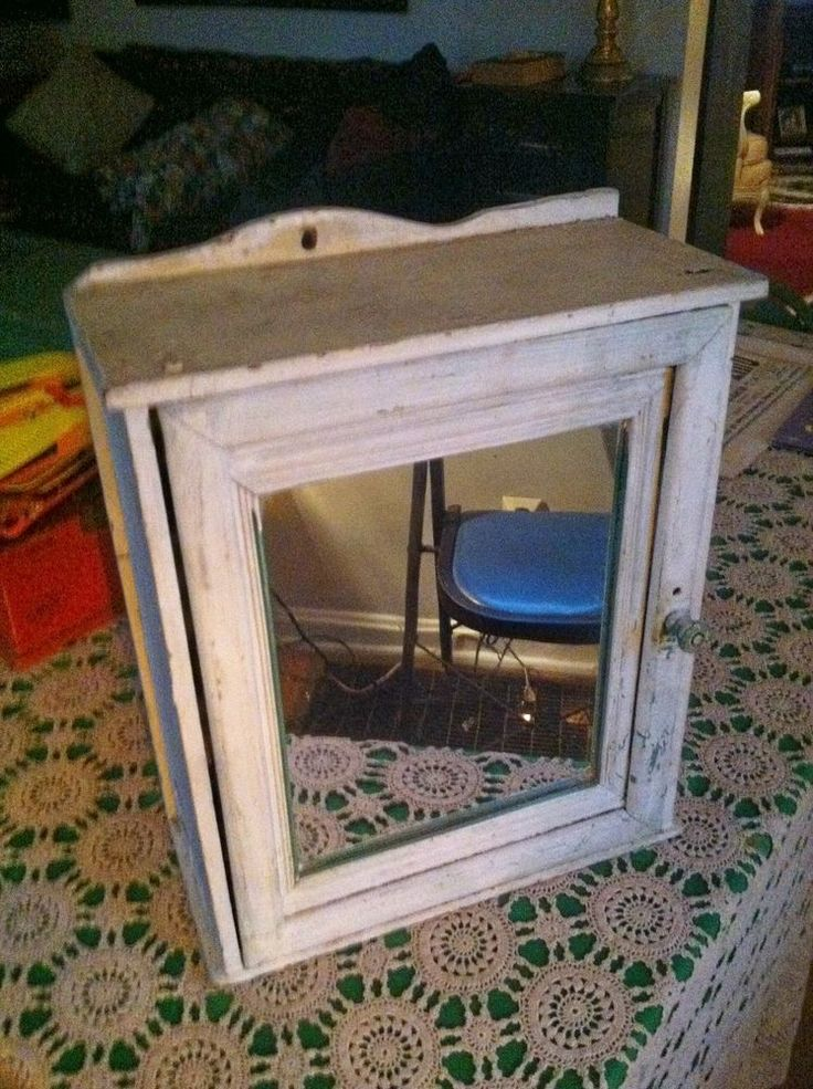 Vintage Wood Medicine Cabinet W Mirror Shabby Chic Wall Mount Or Stand Alone Wall Mount